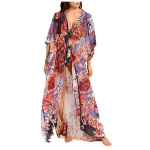 Printed Summer Long Kimono Bikini Beach Cover Up